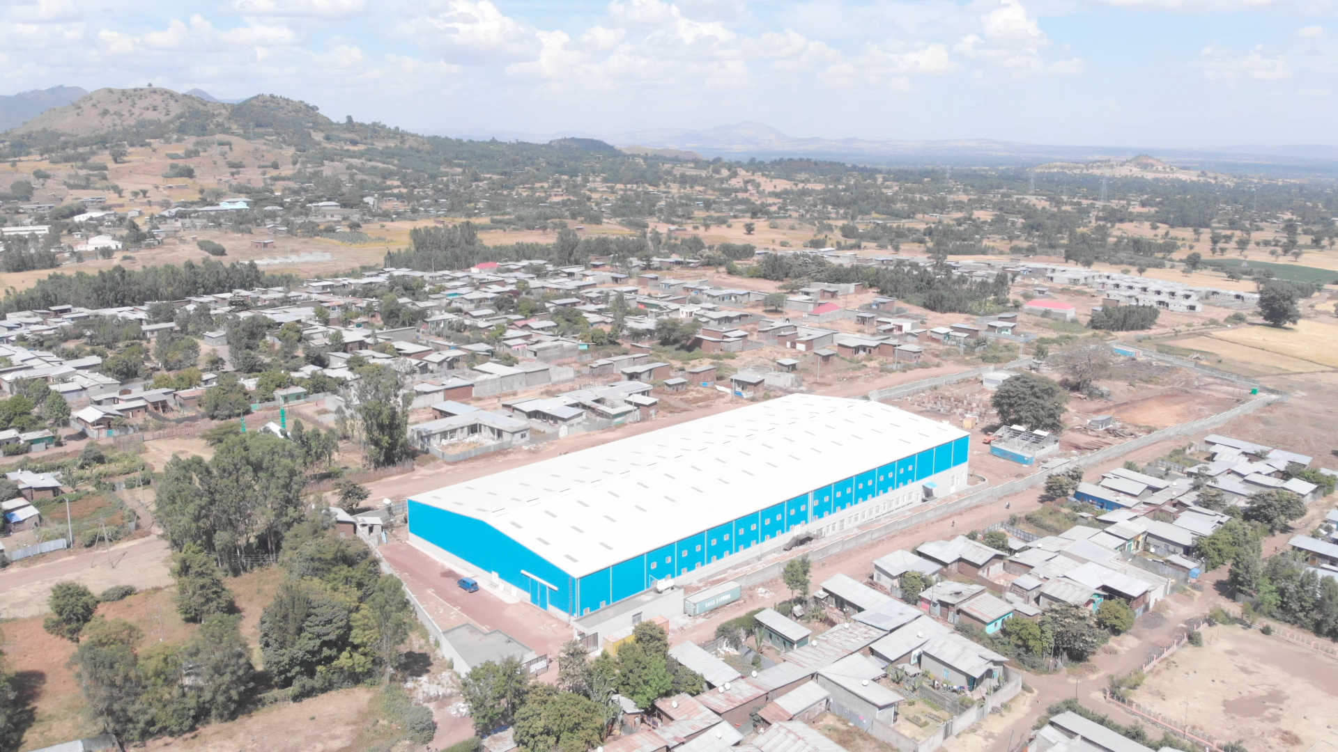 Blick auf das DESTA PLC Firmengelände bei Butajira