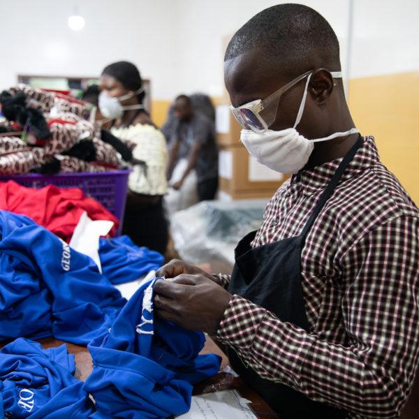 Man sorts clothes